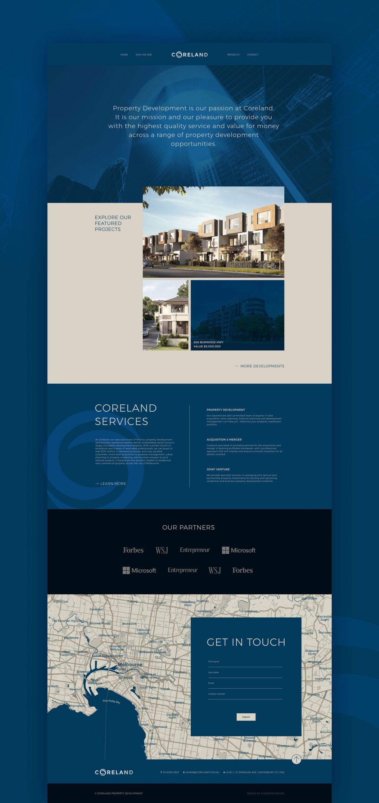 property developer webdesign by Z Creative Studio Branding & Graphic Design Melbourne
